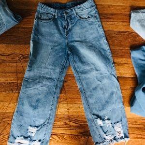 Denim - Distressed lt blue high waisted culottes jeans